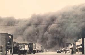 Dust storm in Ulysses, Kansas, by Royal Gray, 1935.