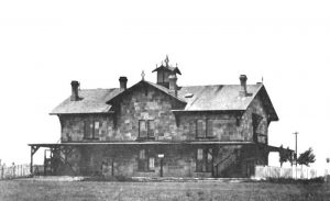Kansas Pacific Railway stone depot in Victoria, Kansas 1880.