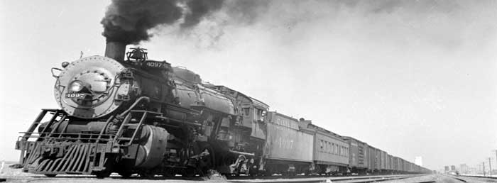 Atchison, Topeka, & Santa Fe Railroad at Kiowa, Kansas by Jack Delano, 1943.