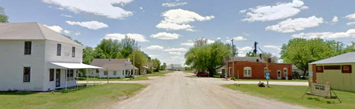 Burdick, Kansas Main Street, courtesy Google Maps.