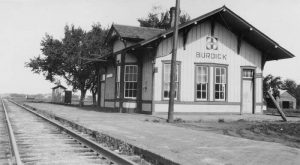 Atchison, Topeka & Santa Fe Railroad Depot in Burdick, Kansas.