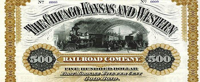 Chicago, Kansas & Western Railroad stock certificate.