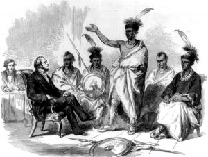 Conference of Kanza Indians with US Commission of Indian Affairs, the Illustrated London News, 1857.