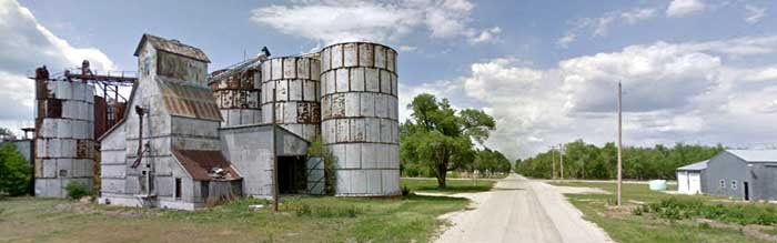 Rusty grain silos in Delavan, Kansas courtesy Google Maps.