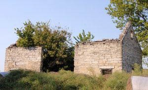 An old stone building still stands at the site of Diamond Springs, Kansas by Kathy Weiser-Alexander.
