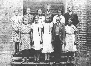 Old Vernon School, Quindaro, Kansas with Professor King at upper right, 1935.