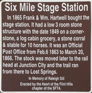 Six Mile Stage Station sign in Morris County, Kansas.