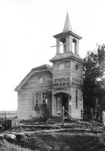 The old Baptist Church in Skiddy, Kansas served as the post office for a time.
