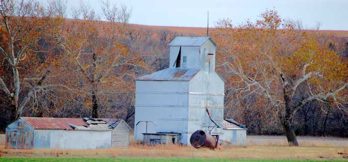 An old grain elevator still stands in Skiddy, Kansas by Dave Alexander.