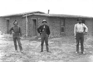 Sod houses in Barton County, Kansas in the 1880s.