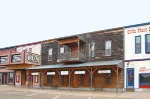 Main Street buildings in Claflin, Kansas by Kathy Weiser-Alexander.