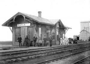 Missouri Pacific Railroad Depot in Claflin, Kansas.