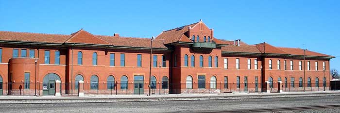 Santa Fe Railroad Depot in Dodge City, Kansas by Kathy Weiser-Alexander.
