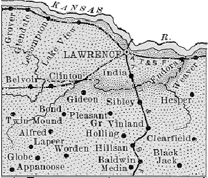 Douglas County, Kansas Map 1889