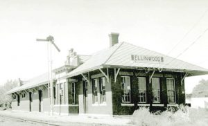Atchison, Topeka, & Santa Fe Railroad depot in Ellinwood, Kansas.