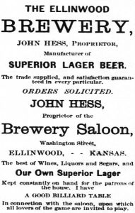 Ellinwood, Kansas Brewery Advertisement