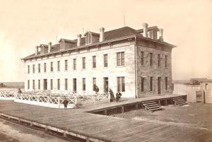 Railroad depot and hotel, Ellis, Kansas, 1870s.
