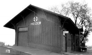 Atchison, Topeka & Santa Fe Railroad Depot in Heizer, Kansas 1931.