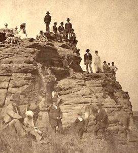 Pawnee Rock on the Santa Fe Trail in Kansas by J.R. Riddle, about 1875.