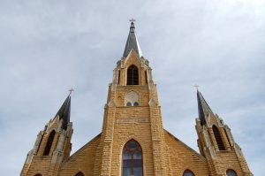 Holy Cross church steeples in Pfeifer, Kansas