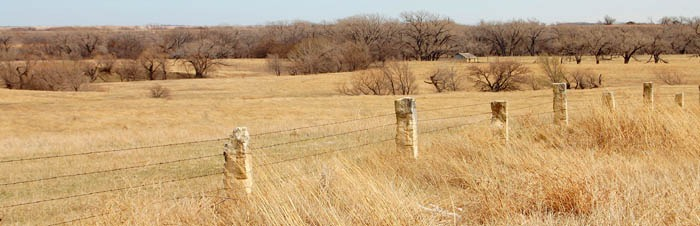 Post Rock Fence in Ellis County, Kansas by Kathy Weiser-Alexander.