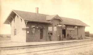 Atchison, Topeka & Santa Fe Railroad Depot in Spearville, Kansas, 1890.