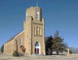 St. Francis Catholic Church in Munjor, Kansas courtesy Kansas State Historical Society.
