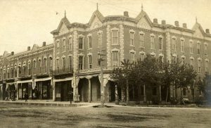 Collins Block and Greenwood Hotel in Eureka, Kansas, 1905.