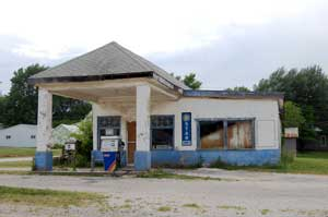 Old Gas Station in Fall River, Kansas by Kathy Weiser-Alexander.