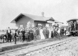 Atchison, Topeka & Santa Fe Depot in Hamilton, Kansas.