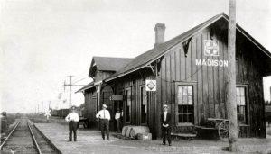 Atchison, Topeka & Santa Fe Railroad in Madison, Kansas.