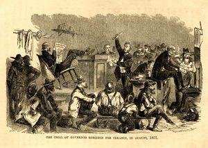 Charles Robinson tried for treason in Kansas.