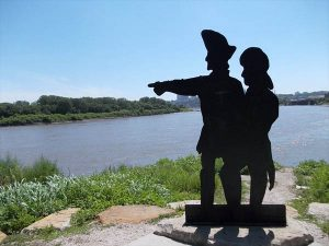 Lewis & Clark Sculpture in Kansas City, Kansas.