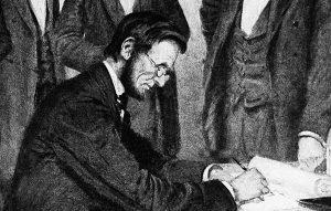 President Lincoln signs bill.