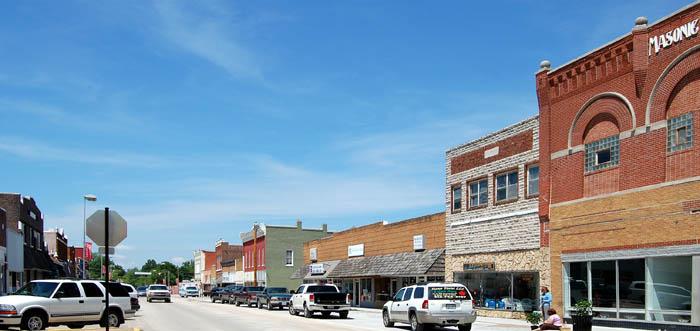 Osawatomie, Kansas Main Street by Kathy Weiser-Alexander.
