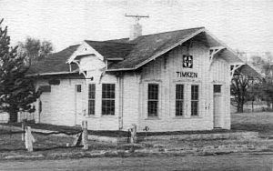 Santa Fe Railroad Depot in Timkin, Kansas.