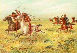 U.S. Cavalry pursuing American Indians, 1899.