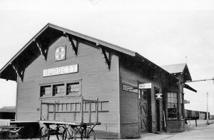 Atchison, Topeka & Santa Fe Railroad Depot in Burdett, Kansas.