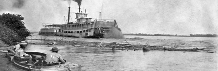 Paddle-wheel Steamboat in Doniphan County, Kansas about 1875.