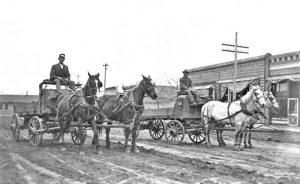 Wagons in Oakley, Kansas Street.