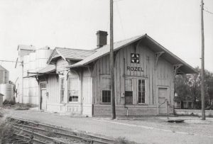 Atchison, Topeka & Santa Fe Railroad Depot in Rozel, Kansas.