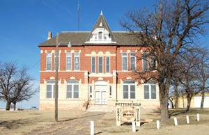 The first Logan County Courthouse in Russell Springs, Kansas now serves as the Butterfield Trail Museum by Kathy Weiser-Alexander.