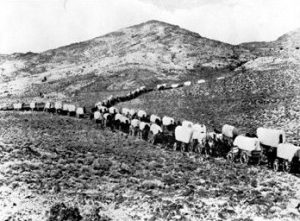 Wagon Train on the Santa Fe Trail.