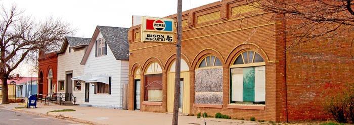 Bison, Kansas Main Street by Kathy Weiser-Alexander.