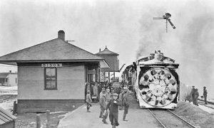 Missouri Pacific Railroad Depot in Bison, Kansas.