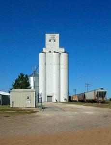 Grain elevator in Hargrave, Kansas.