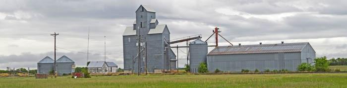 Grain silos in Kackley, Kansas by Kathy Weiser-Alexander.