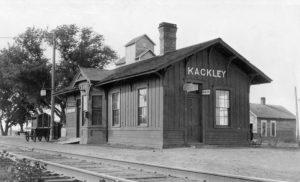 Atchison, Topeka & Santa Fe Railroad Depot in Kackley, Kansas.