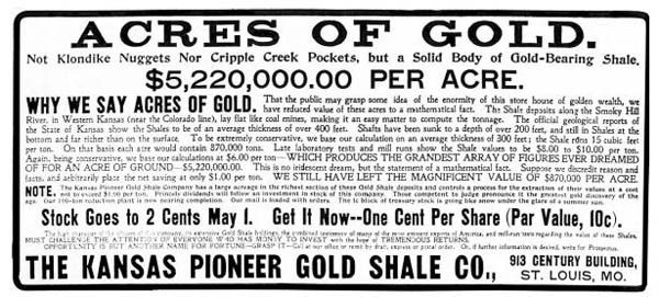 Acres of Gold in Kansas! D. R. Beatty bought land along the Smoky Hill River and sold shares with this advertisement in the St. Louis Globe Democrat, April 27, 1902.