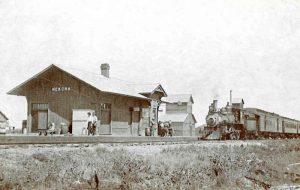Atchison, Topeka & Santa Fe Railroad Depot in Nekoma, Kansas.
